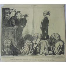 En Chine No. 15. 'L'envoye americain obtenant une audience de l'Empereur de la Chine' The emperor cocks a snook at a blind-folded ambassador.