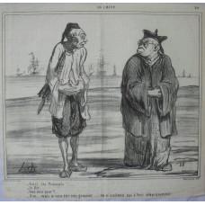 En Chine No. 24. 'Voici les Francais! . . . -Je file . . . - Vous avez peur? -Non . . . mais je veux etre tres grossier . . . en n'assistant pas a leur debarquement.' Two Chinamen talking as French fleet arrive.