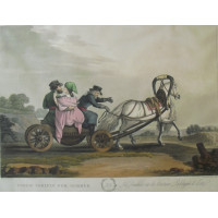 'A Russian Courier Conveying Despatches'.  Three horses pulling a cart carrying soldiers. After Mornay by Clark & Dubourgh.