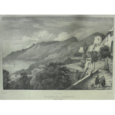 'Vue Prise a Salerne, Royme de Naples' No. 80 View of coast at Salerno, with figures on terrace, by Antoine Guindrand [1801-1843]