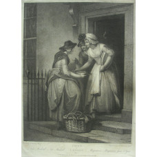 'New Mackrel, New Mackrel Maquereux. Macquereux frais et Gros'. Two ladies in doorway look at fish. Plate 5 from Cries of London, by Niccollo Schiavonetti [1771-1813]