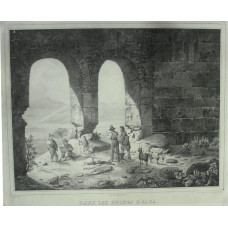 'Dans Les Ruines D'Alba pres le lac de Fucino  No. 79 Artists at work within ruins, by Jean-Louis Tirpenne [1801-1878] and Figures by Victor Adam [1801-1866]