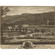 'Chatsworth in Derbshire The Seat of his Grace the Duke of Devonshire' View of park and house, with figures, horses and carriage, and waterworks