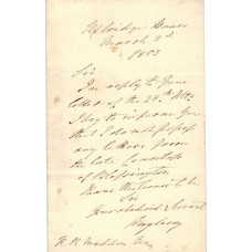 AUTOGRAPH LETTER SIGNED, to R.R. Madden, Uxbridge House, 3 March 1853, 1p,