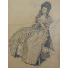 Study for 'The Connoisseur' Elegant Woman seated in Jacobean chair.
