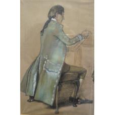 Two studies for 'The Silken Thread'. Elegant Woman seated holding thread; Gentleman in blue brocade holding skein of silk.