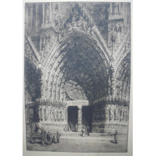 Entrance of Seville Cathedral. Figures by doorway with arch and rose window.