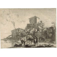 The muleteer on the Via Appia. Landscape with the muleteer in conversation with a boy in central foreground, the mule carrying barrels and facing right, in left foreground on the banks of a river a male figure seen from behind and tying his shoelaces, smo