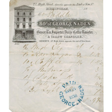 Billhead, with engraved vignette of his shop, 27 High Street, to Mr Biddle.