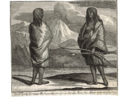 'Two Californian Women, the one in a Birds; Skin the other in that of a Deer' Two native American women, one with bow and arrow, by John Pine.