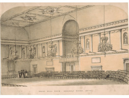 'Grand Ball Room Assembly Rooms, Bath',  group  visiting, room set out with chairs, chandiliers, sculptures in niches.