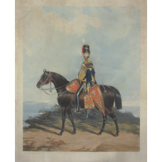 Lt.-Gen. the Hon. Henry Beauchamp Lygon, Colonel of the 10th Hussars, in uniform, on horseback by J. Harris.