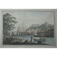 'Windsor Bridge'. View of river with boats with castle in background. by J.C. Stadler.
