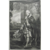 Engraved Portrait of Duke of Cumberland, in the robes of the Order of the Garter, holding hat, Full-Length, pillars behind, Windsor castle in background, after Sir Joshua Reynolds [1723-1792] by Thomas Watson [1743-1781].