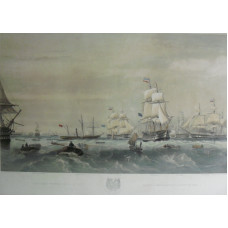 'The Fleet Provisioning at Sea.'  Rowing boats going to ships Caesar, Duke of Wellington, Holyrood, Monarch, Cumberland, Boscawen and Imperieuse, by  Thomas Goldsworth Dutton [1819-1891].