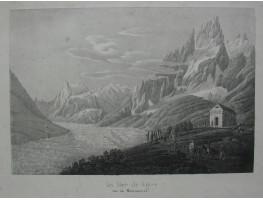 'La Mer de Glace vue du Montanvert;'  Tourists some on horseback viewing the glacier by classical building.