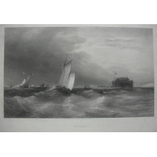 'Off Calais' Shipping off coast, with fort to right, by Thomas Abiel Prior [1809-1886]