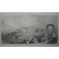'Brighton'. View of beach and town from chain pier with figures and boats, after Edward Duncan [1803-1882] and engraved by Thomas Abiel Prior [1809-1886].