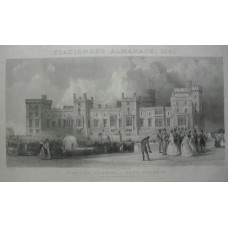 'Windsor Castle East Terrace. The Queen's Private Apartments'. Queen Victoria and Prince Albert and other figures walking in grounds after Thomas Allom [1804-1872] and engraved by Thomas Abiel Prior [1809-1886].