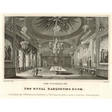 'The Pavilion. No. 1 The Royal Banqueting Room, No.2 The Music Gallery'. Interiors, by E. Brain.