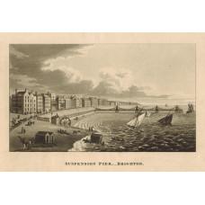 'Suspension Pier. Brighton'. Showing bathing huts, donkeys and big wheel, yachts at sea.