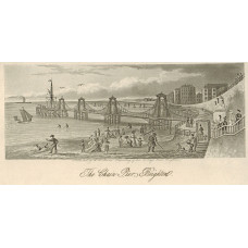'The Chain Pier. Brighton'. Figures on beach, yachts at sea.