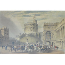 'Quadrangle Looking West Windsor Castle'. Troop of Life guards in front of Round Tower with spectators.
