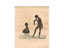'The Dancing Lesson'. The Dancing Master playing the fiddle and dancing while a young girl tries the steps, by J. Bruce.