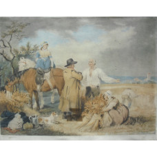 'Reaping. Mouissonat'  Harvest Scene with farmer talking to workers, by William Ward.