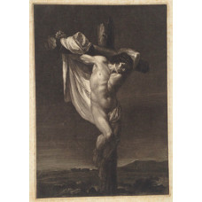 Christ on the cross in landscape.