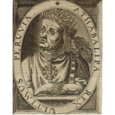 Engraved Portrait of Atahualpa, Half Length in headress, looking left, in oval, text on reverse,