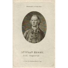 Engraved Portrait of Berry, Head and Shoulders, in oval, after W. de la Cour by R. Scott.