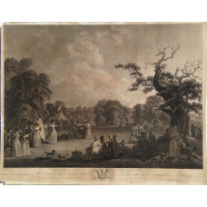 This Plate Representing a Meeting of The Society of Royal British Archers Gwersyllt Park, Denbighshire. Ladies practising archery in parkland with tents, trees and spectators, after John Emes [1762-c.1809] and Robert Smirke [1752-1845].