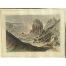 'Mullyan Cove Cornwall', Mullion Cove, sea crashing on rock, men dragging boat, by and after W. Daniell.