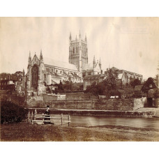 Worcester Cathedral from the River. Friths Series Stamp numbered 1884,