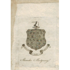 Armorial Bookplate of Alexander Montgomery, coat of arms  with crest, and motto Honneur sans repos.