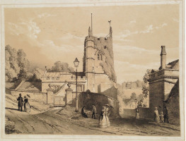 'Widcombe Old Church Bath' Figures walking in street,Prior Park in Distance, by John Syer [1815-1885].