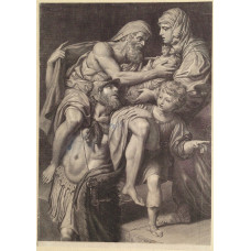 Aeneas is standing with his father Anchises on his shoulders as he rescues him from the fire of Troy, and he receives the household gods from his wife, Creusa, after D. Zampieri, il Domenichino [1581-1641].
