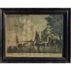 Winter Amusements, after Adriaen van de Velde; A View from Naples, after Joseph Vernet;  A Winter View in Flanders, after David Tenier the Younger; A View in Holland, after Francis Swaine. With titles also in French.