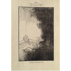 Illustration entitled 'Drawing' . Man sitting in the corner of a room having seen a phantom.