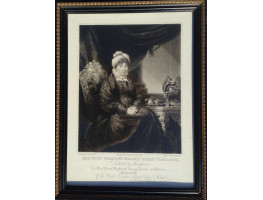 Engraved Portrait of Queen Charlotte, nearly whole length, seated in chair with Royal monogram, after Henry Edridge [1768-1821] by S.W. Reynolds [1773-1835].