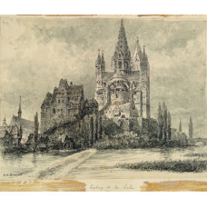 'Limburg on the Lahn', View of cathedral from the river.