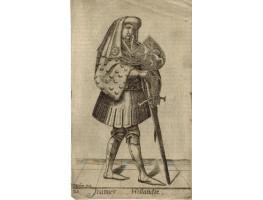 Engraved Portrait of 'Joannes Hollandiae' John I Full Length, in armour holding sword and shield.
