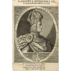 Engraved Portrait of Albertus, Head and Shoulders, in profile, to right, in armour, wearing crown, within oval,