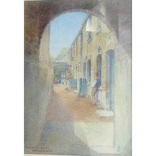 'Fisher's Alley Wandsworth' Two boys with fishing nets in front of terraced houses.