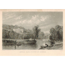 View of  the Country House, Axwell Park, after T. Allom by T.A. Prior. Man fishing in foreground.