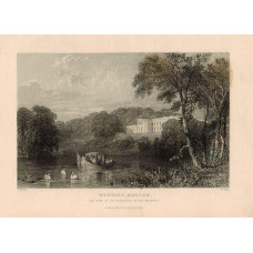 View of  the Country House, Wynward Seat of Marquess of Londonderry, after T. Allom by W. Floyd. Ceremonial rowing boat on river.