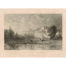 View of  the Country House, Lyme Hall, after T. Allom by J. Lewis. Figures by lake.
