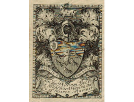 Armorial Bookplate of Thomas William Boord, Baronet  of Wakehurst Place in Sussex, coat of arms  with crest, and motto Virtute et Industria.