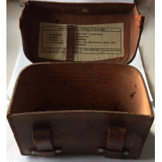 German Luftschutz Sanitatasche. Brown Leather Medical Pouch. Stamped with manufacturer's name.